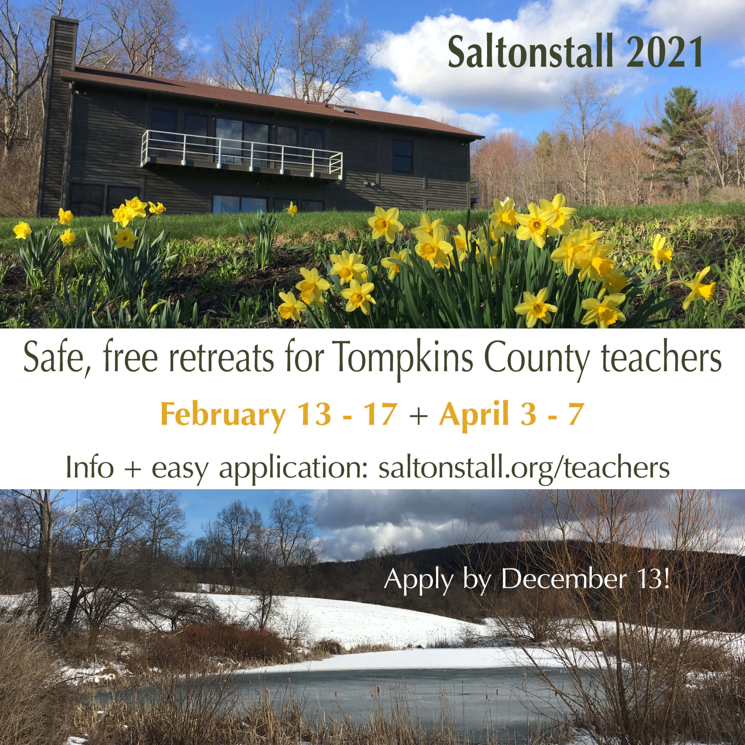 Ad for the teachers retreat program with spring and winter photos